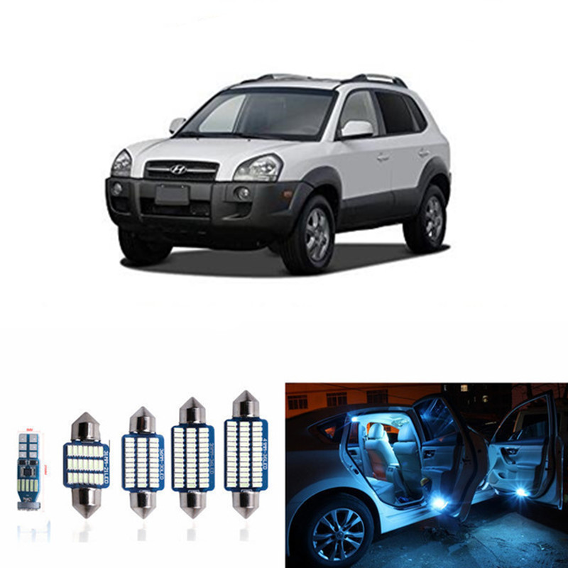 12pcs CANBUS Error Free LED Interior Light Kit Package For 2005-2009 Hyundai Tucson Dome Map lights white ice blue 15pc x 100% canbus led lamp interior map dome reading light kit package for audi a4 s4 b8 saloon sedan only 2009 2015