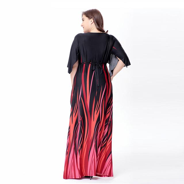 Elegant print plus size Dress summer female big size Dresses Large size Beach Vacation
