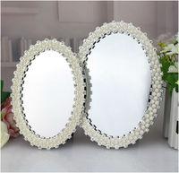 Europäische moderne ovale perle desktop spiegel metallrahmen spiegel hochzeit dekoration spiegel gerahmte spiegel dekoration HZJ010