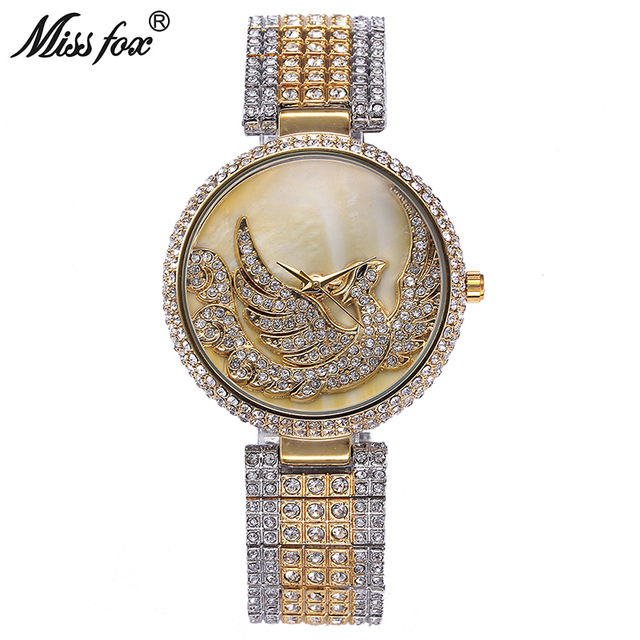 Missfox Phoenix reloj mujeres rhinestone cuarzo importado de Japón del reloj  de oro mujeres marca de 8a67ddc0d965