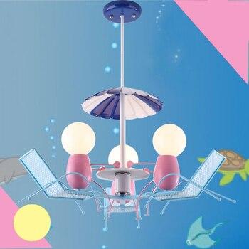 LED linda cadeira de praia crianças quarto Luz Pingente de arte criativa nova personalidade da menina do menino de entretenimento luminária ya7313