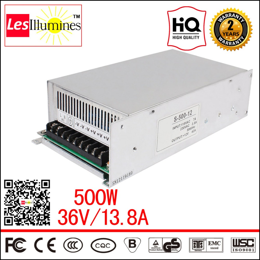High Power SMPS AC-DC 220V 36VDC LED Light Driver Source CE Approval Constant Voltage Output Switching Power Supply 36V 500W 56w led driver dc45 55v 1 2a high power led driver for flood light street light constant current drive power supply ip65