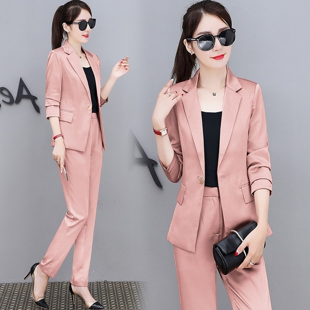 Fashion OL Pant Suits 2 Piece Set for Women Single Buttuon Blazer Jacket & Trouser Office Lady Suit 2018 tailleur femme 4 colors