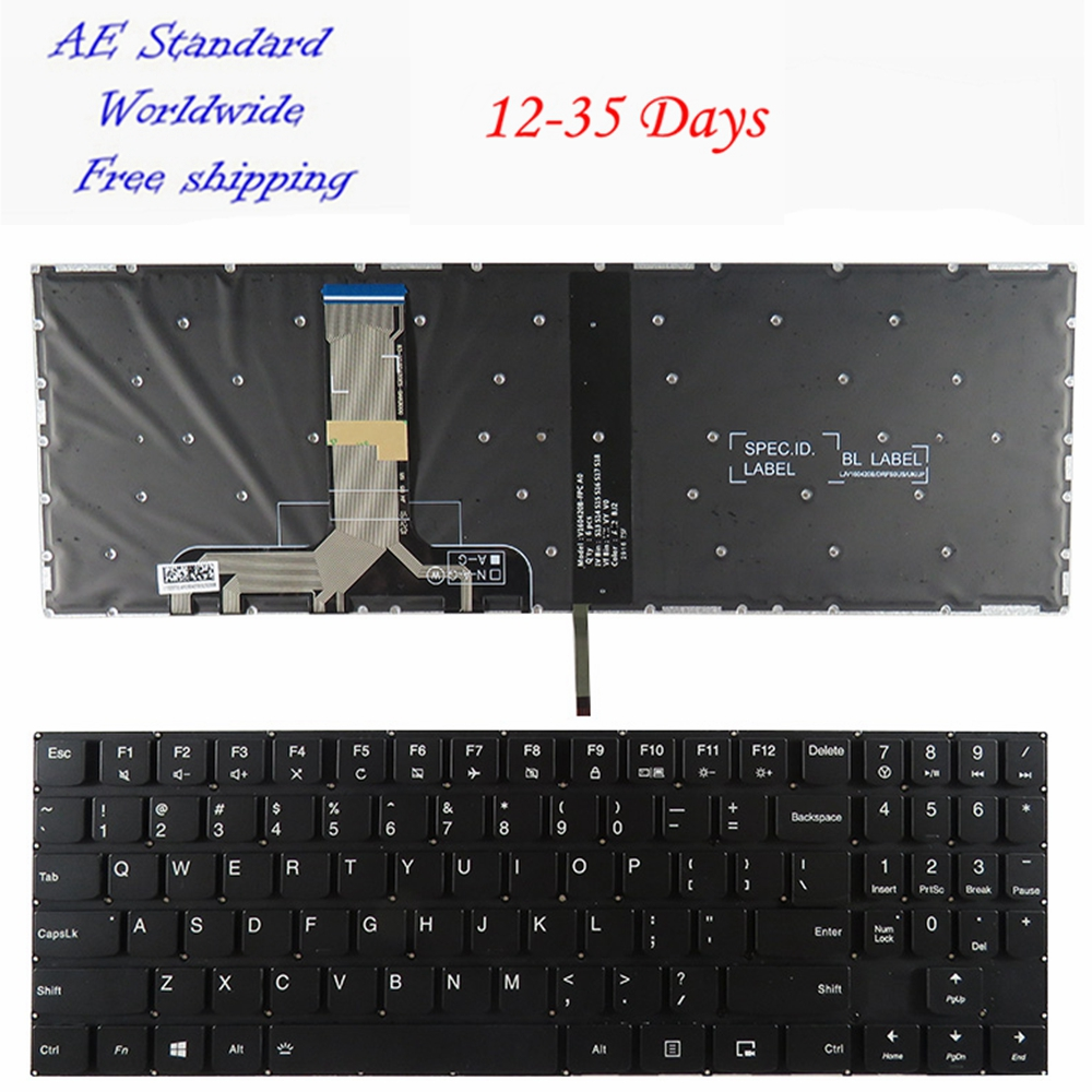 US Laptop Keyboard For Lenovo For Legion Y520 Y720 R720-15IKB Black New English With backlight ru laptop keyboard for lenovo for ibm t440s t440p t440 e431 t431s e440 l440 t450 black new russian with pointing stick backlight