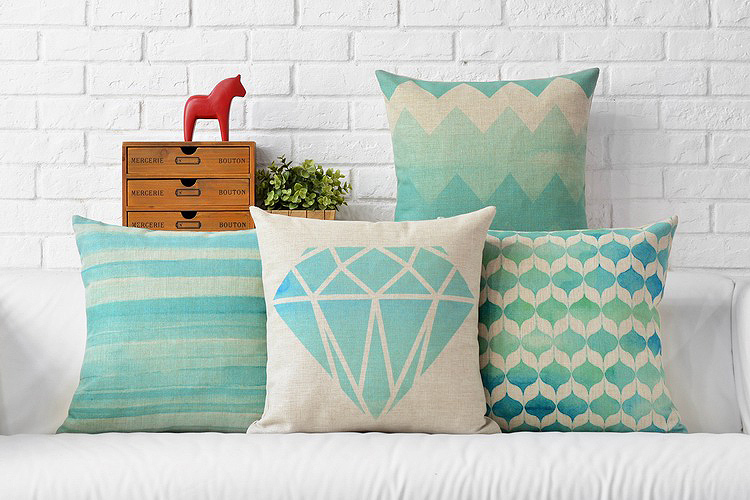 Free Shipping Watercolor Aqua Blue Zigzags Chevrons Diamonds Lanterns Stripes Pattern Cushion Cover Throw Decorative Pillow Case In From Home