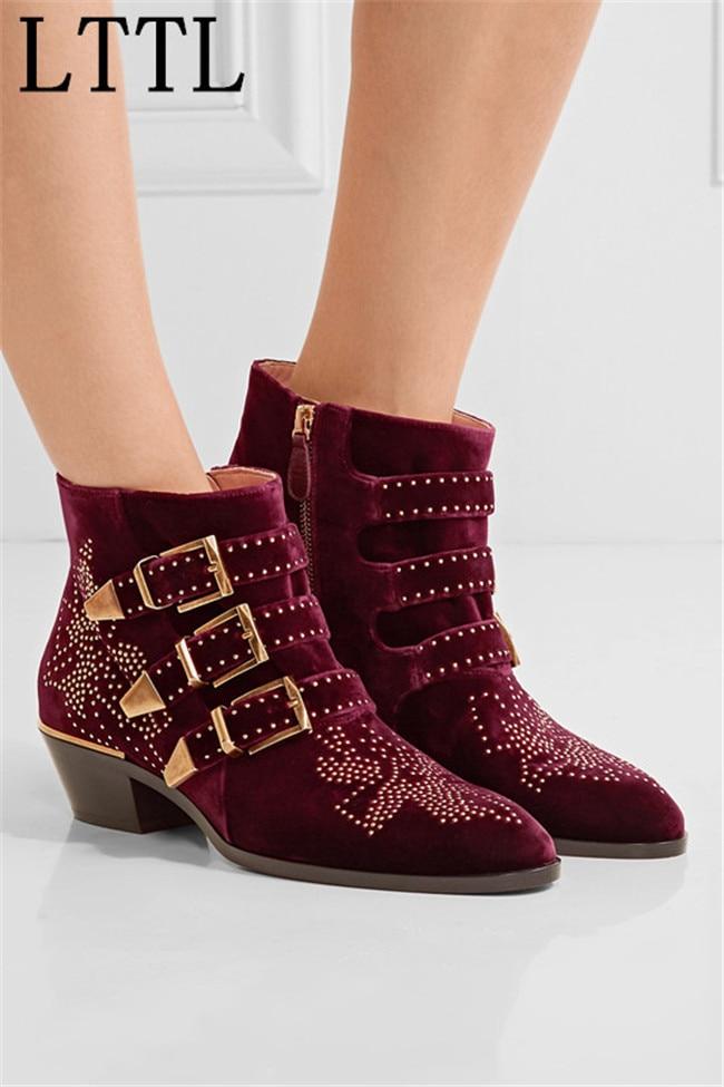 LTTL Fashion Celebrity Susanna Ankle Boots Women Buckles Rivets Studded Shoes Woman Vintage Low Heel Velvet Riding Booties Zip dali spektor 6 walnut