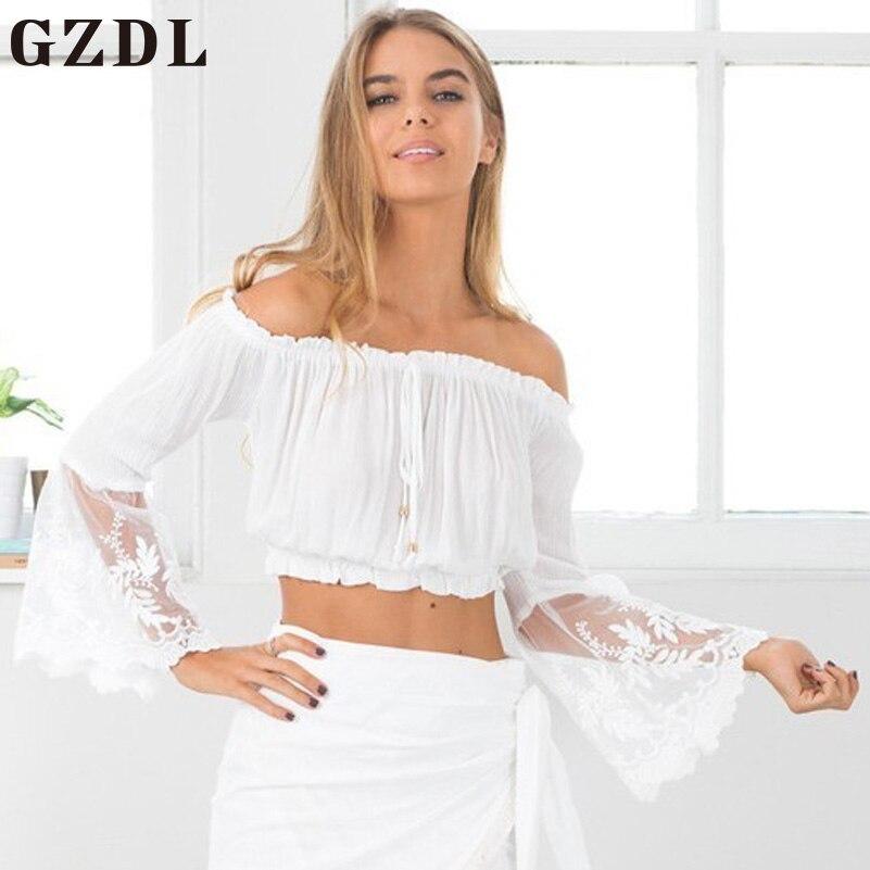 GZDL Sexy Off Shoulder Slash Neck Lace Crop Tops Long Flare Sleeve Fashion Women Chiffon Party Blouses Femininas Blusas CL3995