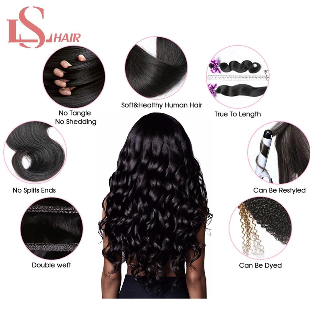 Mornice Brasiilia keha laine 3 kimbud juuksekudumisega - Inimeste juuksed (must) - Foto 6