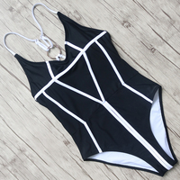 Sexy Swimsuits Women Solid One Pieces Swimwear Halter Bandage Bathing Suit Push Up Monokini Female Backless