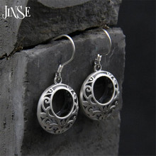 JINSE S925 Pure Silver Round Dangle Earrings for Women Hollow Out Drop Female Metallic Party 16mm