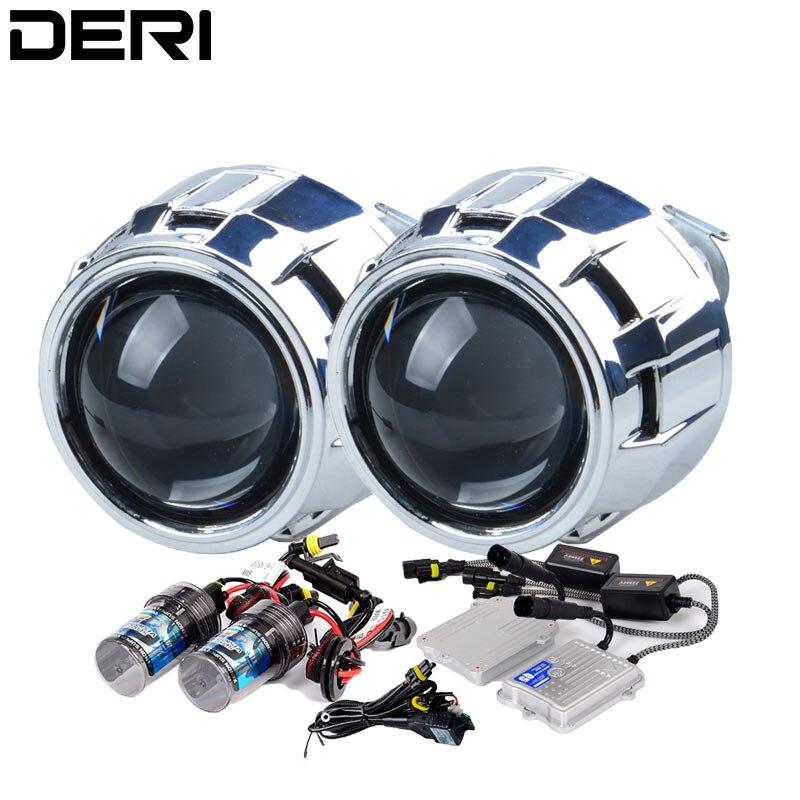 2.5 pouces argent HID Bi xénon projecteur lentille Kit de modification 55W AC démarrage rapide Ballast H1 lampe au xénon 4300K 6000K 8000K voiture style