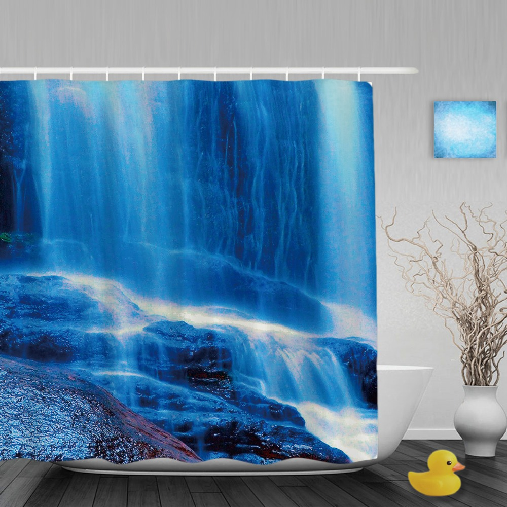 Natural Scenery Decor Bathroom Shower Curtains Waterfall Stone ...