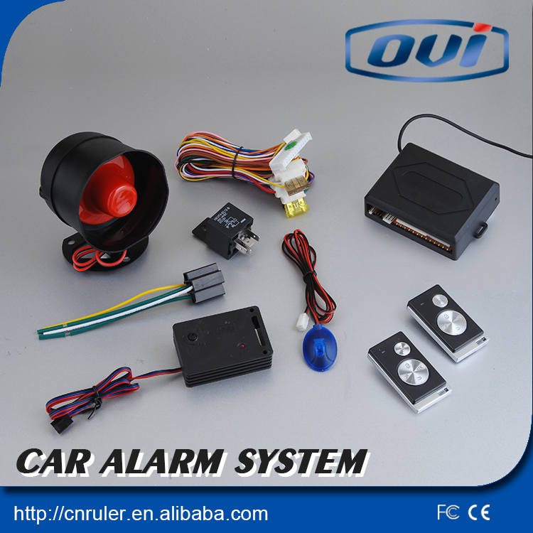 DC12V one way car alarm system central door lock automation, shock trigger alarm and remote trunk release