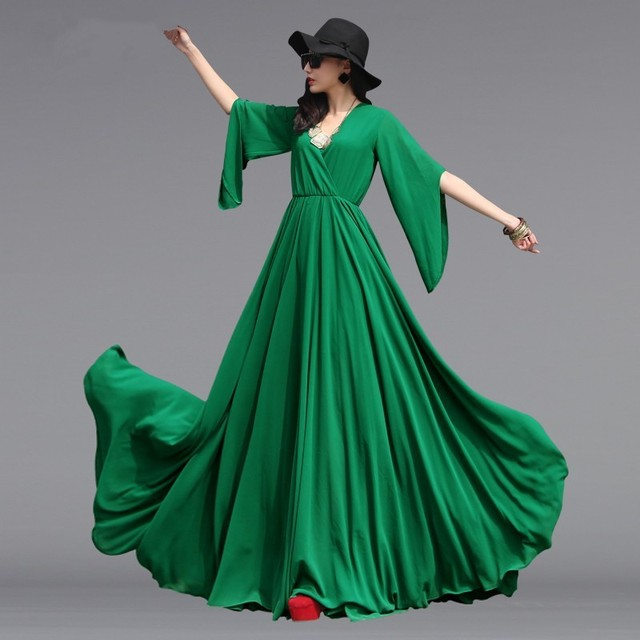 Plus Size Bohemian Maxis Dress Casual V-neck Butterfly Sleeve Long Chiffon Dress