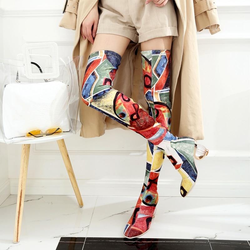 REAVE CAT kobiety babie lato zakolanówki kostki przezroczyste obcasy Stretch kolorowe na kolana Botas Bottine Femme w Buty za kolano od Buty na AliExpress - 11.11_Double 11Singles' Day 1