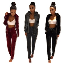 ZOGAA Brand Autumn Womens Tracksuit Two Piece Set 2019 Velvet Long Sleeve Zipper Hooded Tops with Pants Sweat Suit Women