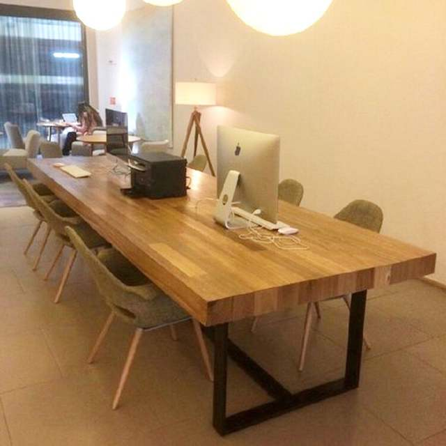 American Retro Wood Tables Wrought Iron Bars Long Table Conference Desk Combination Coffee Office