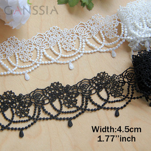 1yard/lot Width:4.5cm Gorgeous bead chain lace, water soluble lace trims for garment lace Sewing accessories. (ss-432)