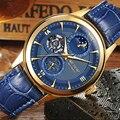 Мода ЭЗОП Moon Phase часы мужская кожаная Автоматические механические Сапфир водонепроницаемый дата часы relogio masculino