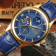 Moda AESOP reloj Fase Lunar hombres de cuero mecánico Automático fecha de Zafiro a prueba de agua reloj relogio masculino