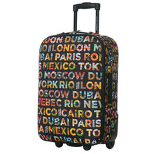 DAVIDJONES 1 Piece Luggage 24 inches trolly Lightweight Vintage Print luggage Holiday Traveller case box with fixed wheels