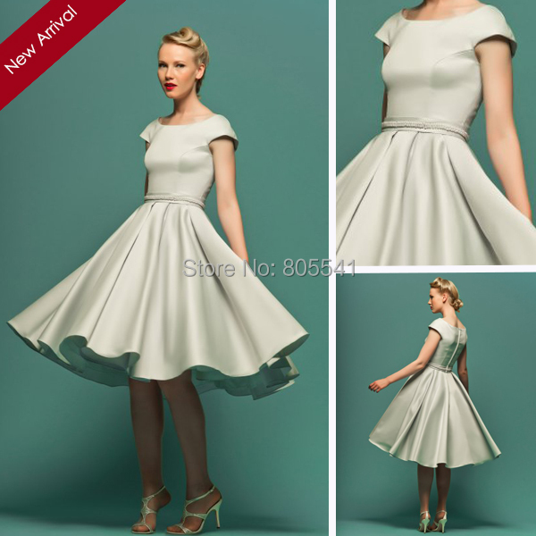Vintage Style 1950\'s Little Ball Gown Short Sleeve Classic Satin ...
