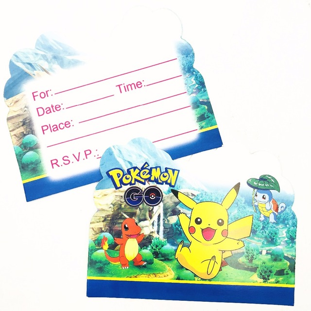 10pcset Pikachu Paper Invitation Card Kids Birthday Pikachu Party