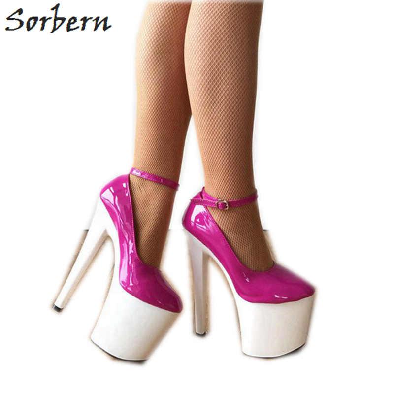 52057f6fafe0 Sorbern Pink Very High Heels Ankle Strap White Heels Pump Shoe Comfortable  Heels Art 8 Inch