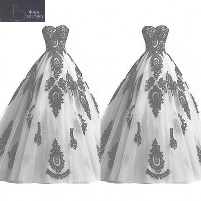 Discount Vintage Black Gothic Wedding Dresses A Line: Gothic Black And White Wedding Dress Sweetheart Neck Puffy