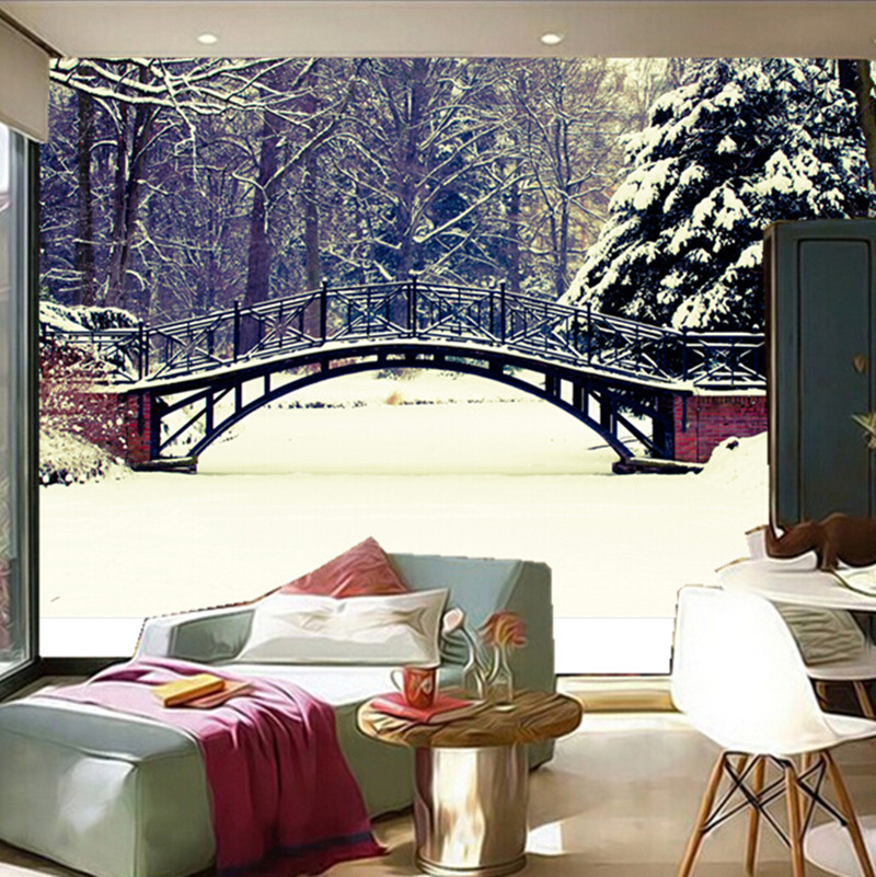 The  custom 3D murals, 3d Winter Bridges Parks Snow Nature wallpapers,the living room sofa TV wall bedroom wall paper the latest 3d murals dream of the sun exposure forest trees stone waterfall scenery living room tv sofa bedroom wall paper