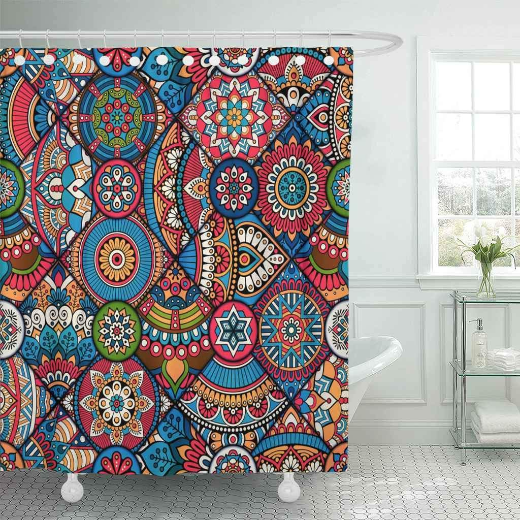 Shower Curtain with Hooks African Pattern Moroccan Bohemian Mandala Design Indian Colorful Pink Tribal Ethnic  Bathroom Сумка