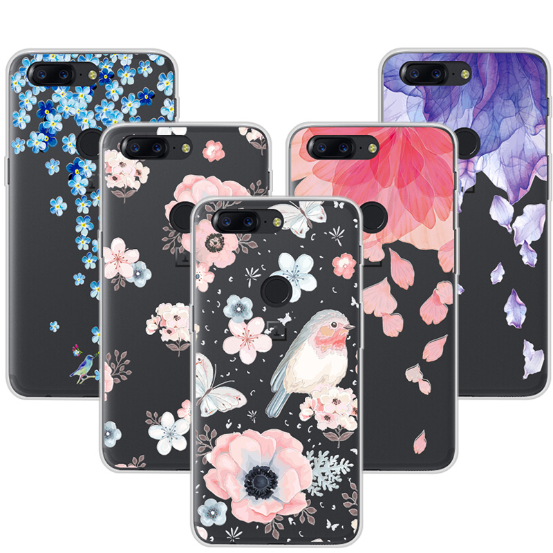 3D Relief Art Lace Print Case Cover For OnePlus 5T Soft TPU Flower Phone Cases For One Plus 5T Coque Fundas OnePlus 5 T 6.01