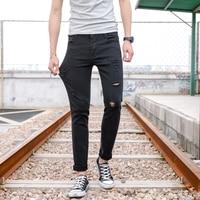2018 Pantaloni Scarni degli uomini Caldi di Estate Solid Stretch Slim Maschio Abbigliamento Moda Stile Casual FORO ROTTO Pantaloni Elastico
