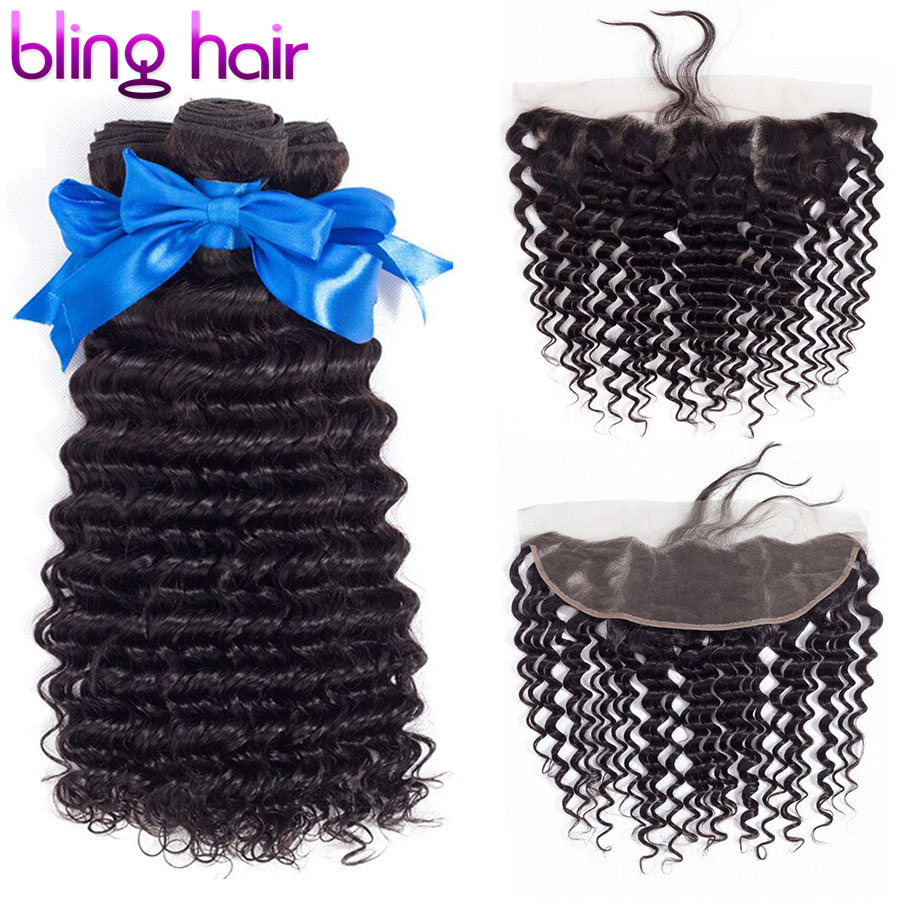 Bling Hair Deep Wave Bundles With Closure Brazilian Hair Weave Bundles With Frontal 13 4 Free