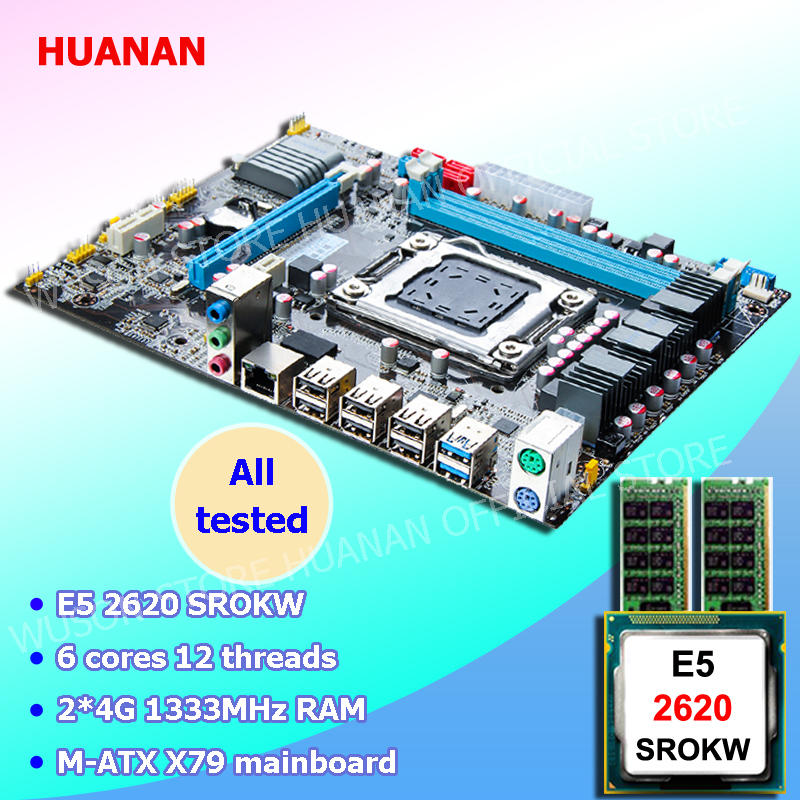New arrival HUANAN motherboard combos X79 LGA2011 motherboard CPU Intel Xeon E5 2620 SROKW RAM 8G DDR3 REG ECC all are tested brand new promotional huanan zhi deluxe x79 motherboard cpu intel xeon e5 2620 srokw ram 32g 4 8g ddr3 1600 recc all tested