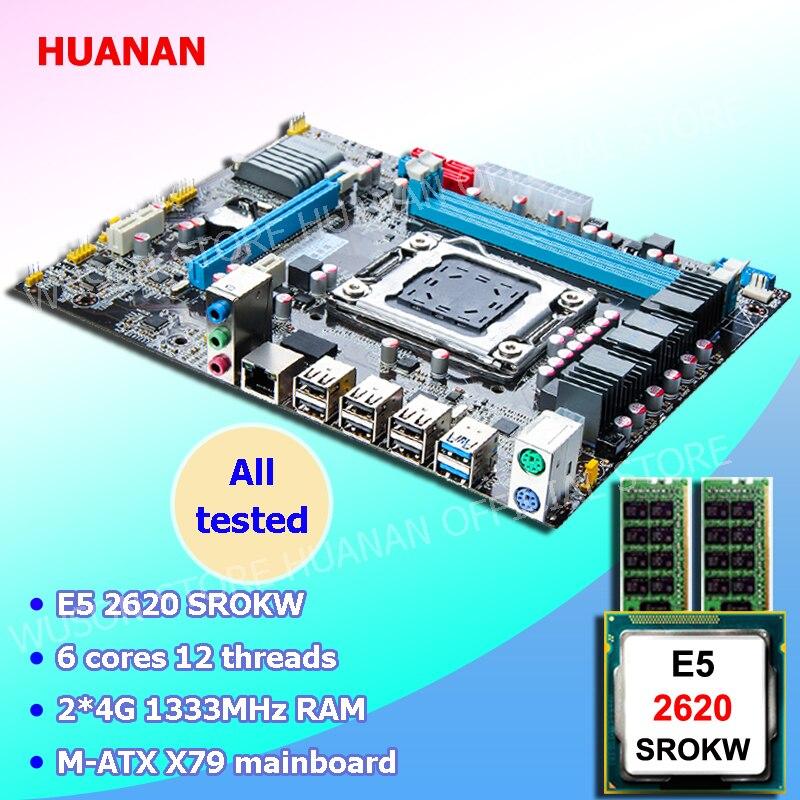 Nueva llegada HUANAN placa base combos X79 LGA2011 placa base CPU Intel Xeon E5 2620 SROKW RAM 8g DDR3 REG ECC todos son probados