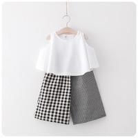 Fashion Elegant Clothes Sets2017 summer boys Girls Kid White Shirts+ Plaid Pants comfortable cute baby Clothes Children Clothing