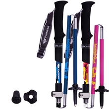 2Pcs Folding Trekking Poles Aluminum And Carbon Fiber Hiking Sticks Collapsible Adjustable Walking Sticks For Tourism