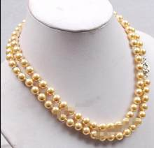 "FREE SHIPPING>>> Fashion Long 36"" 8MM Golden South Sea Shell Pearl Round Beads Necklace AAA See original listing(China)"