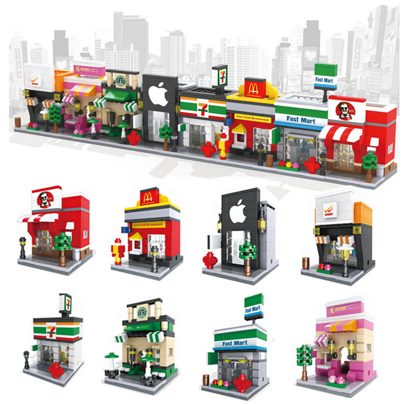 Punctual Mini Fast Mart Store Compatible Legoing City Architecture Street View Model Building Blocks Toys For Children Legoings Juguetes Fast Color Model Building