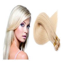 Full Shine I Tip Hair Extensions Platinum Blonde Color 60 I Tip Real Human Hair Extensions Straight Virgin Human Hair Extensions