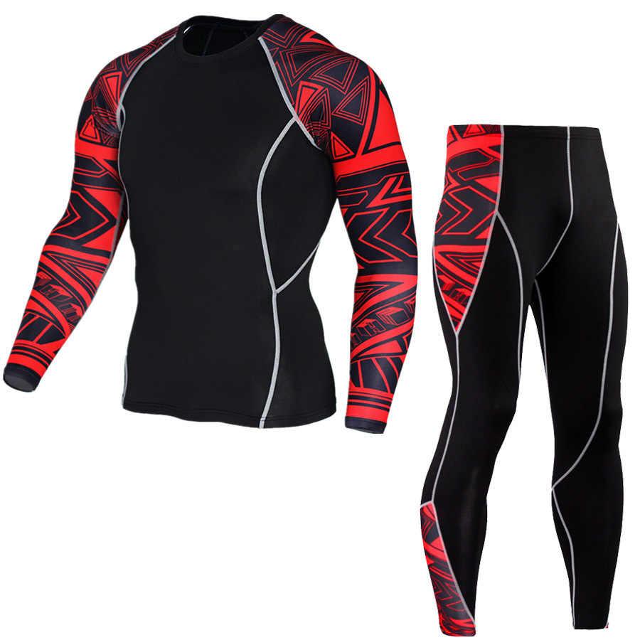 Roupa interior térmica dos homens set roupas esportes camada de base-secagem rápida roupa interior térmica de esqui caminhadas correndo esportes homens apertados 4XL