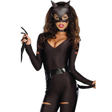 Women Halloween Lingerie Sexy Hot Erotic Female Fancy Cosplay Catwoman Stockings Cat Lady Body With Long Sleeves Sexy Bodysuit