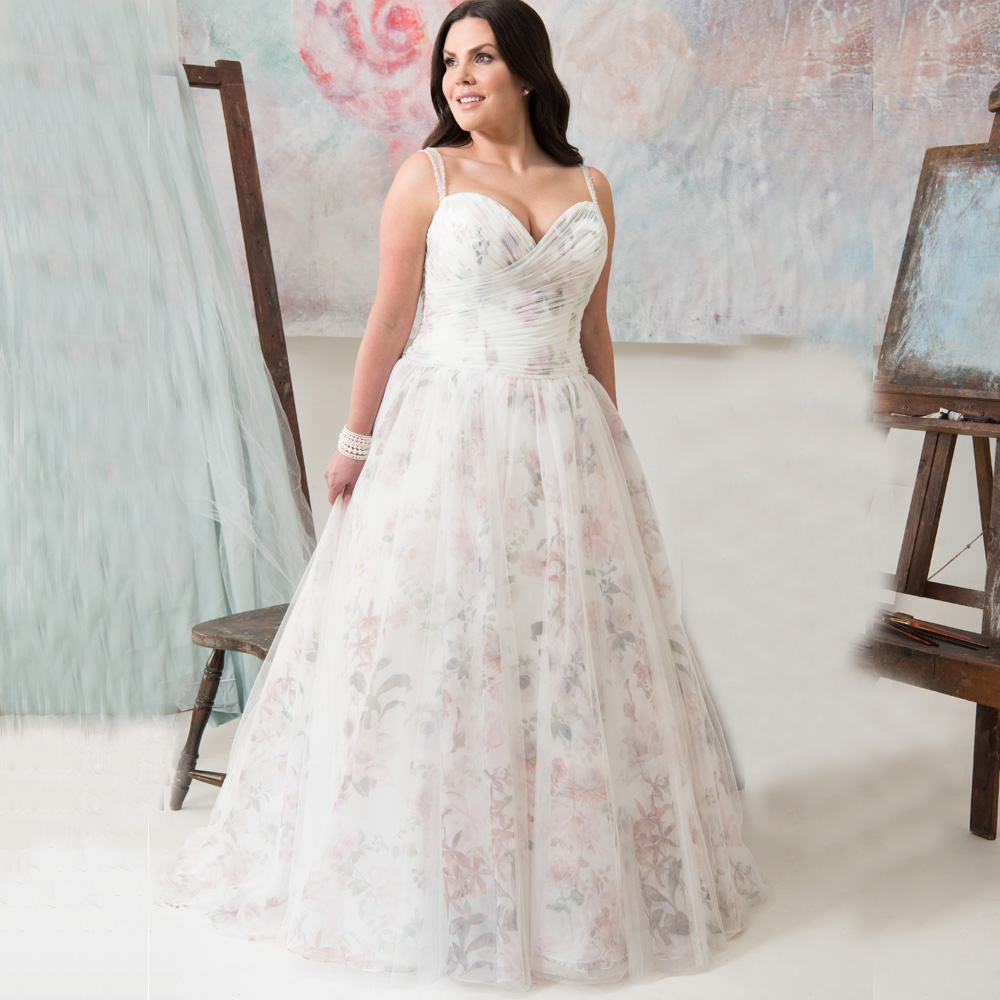 Plus Size Wedding Dress With Floral Organza Beaded A-line Bridal Gown Customized Vestido De Novia Robe De Mariage