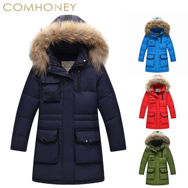 832a5fa84e4b Boys Jackets coats Kids Winter Coat Big Boy Fur Hooded Parka Thick Outerwear  Warm Down Coat For