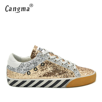 CANGMA Deluxe Retro Casual Men Shoes Spring Autumn Gold Bass Glitter Sequin Leather Zebra Male Leisure