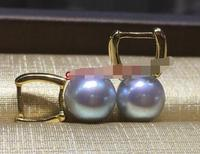 Wholesale price ^^^AAA++ Japanese Akoya Cultured Gray Pearl 9 10mm 925 silver Earrings
