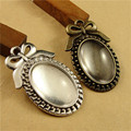 40pcs/lot Antique Silver Bowknot Oval Cabochon Base Settings 25*18MM Inner Size Jewelry Accessories No Cameos