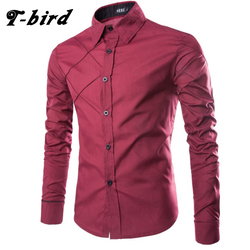 T-bird 2017 New Brand Dress Shirts Mens Striped Shirt Cotton Slim Fit Chemise Long Sleeve Shirt Men Shirts camisa masculina XXXL
