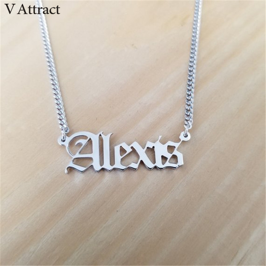 Gothic Jewelry Curb Chain Old English Name Necklace For Women Men